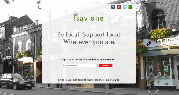 Savione landing page