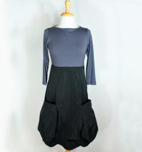 Sun Kim Shelly Dress in Fig:Black